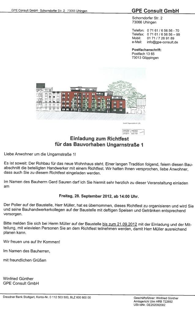 Richtfest in der Ungarnstraße 1
